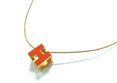 エルメス カージュ・ド・アッシュ Hキューブ ネックレス  HERMES Cage De Ash H Cube Necklace