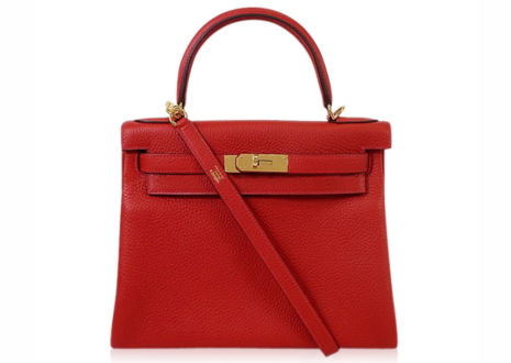 エルメスケリー28 トリヨンクレマンス ルージュカザック ハンド バッグ  HERMES Kelly 28 Taurillon Clemence Rouge Casaque Hand Bag