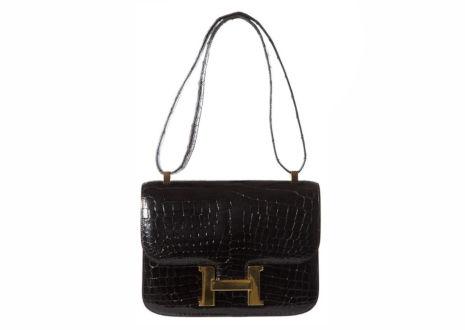 エルメス コンスタンス ブラック クロコダイル スキン レザー ショルダー バッグ   HERMES Constance Black Crocodile Skin Leather Shoulder Bag