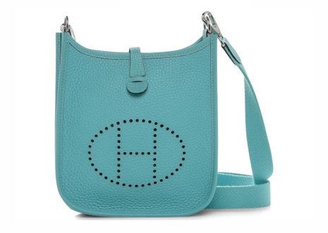 エルメス エブリン TMP トリヨンクレマンスブルーアトール ショルダーバッグ  HERMES Evelyne TMP Taurillon Clemence Bleu Atoll Shoulder Bag